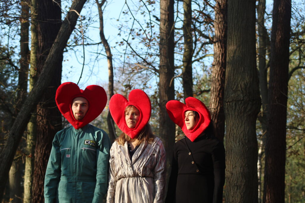 Three performers (2 female, 1 male) stand in the woods. Two look nervously excited to the front, the other looks disinterested to the side. They are all wearing jumpsuits of different styles and colours (black and fashionable, silver and flashy, turquoise and mechanic). They are also wear bright red headdresses.